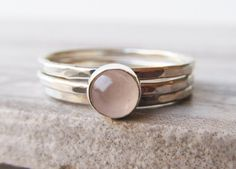 Stacking Ring Set  Rose Quartz Ring  by JuliaParisJewelry on Etsy