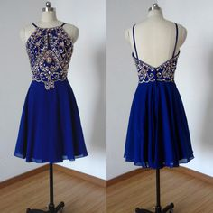 Fabulous Beaded Short Prom Dresses, Backless Halter Chiffon Homecoming Dresses, Royal Blue Mini Prom Dress