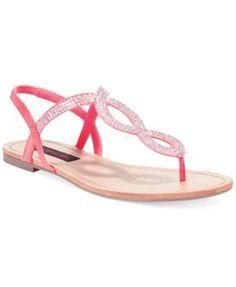 0f72d9f169763 Material Girl Selena Rhinestone Flat Thong Sandals