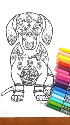 Dog Colouring Page for grown ups, perfect for those who like coloring pages and more complex work with many colors. Its color therapy! Design created