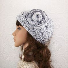 Hand knit hat with flower  handmade  Winter ❤ by SandyCoastalDesigns, $35.00