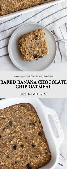 There are so many options for your leftover bananas, but this is my favorite alternative to banana bread! This Baked Banana Chocolate Chip Oatmeal is full of healthy fiber, low in sugar, and naturally gluten free for a delicious, cozy, and healthy breakfast each morning. Low Sugar Desserts, Homemade Desserts, Delicious Desserts, Real Food Recipes, Snack Recipes, Dessert Recipes, Baked Banana, Banana Bread, Healthy Fiber