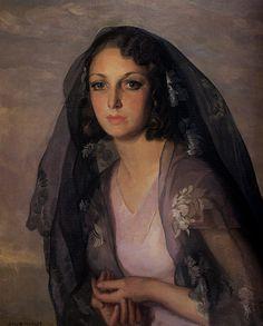 Arte siglo XX. Julio Moises Fernandez De Villasante. Retrato con mantilla