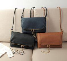 Brand Design Ladies Sling Fold Over Handbags Bags Women Crossbody Messenger bags Shoulder bags Small Zipper Chain Drop