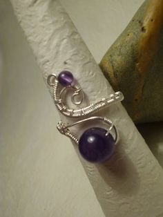 Ring silver plated wire and amethyst gemstone handmade by Juditta, $20.00