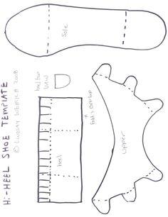 High heel shoe template from thefrugralcrafter.wordpress.com