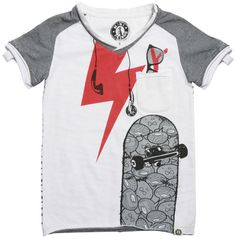 Mini Shatsu Earphone Skater Tee On Sale!  Little pocket with faux shades peeking out. Awesome graphic of skateboard and ear buds on the front and skateboards all over the back side. So cool! #tshirts $25.99