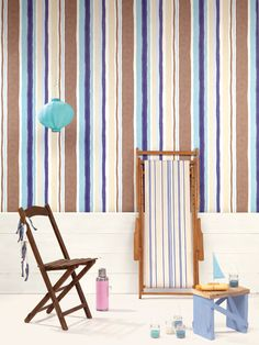 Blue/Brown striped Wallpaper