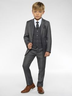 Shop for boys grey suit with checked waistcoat Sampson at Roco. Perfect as a page boys outfit with free UK delivery & 30 day returns.