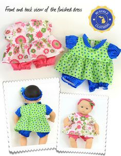Ann Arbor dress and romper pattern for Itty Bitty baby and Bitty twin