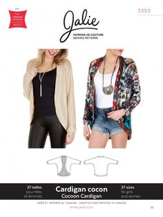 Jalie 3353 - Cocoon Cardigan Pattern Cover