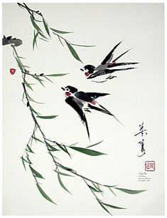 Swallows and willow