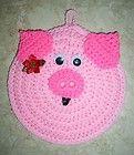 PIG POTHOLDER WALLHANGING, Crochet, NEW CHRISTMAS PIG