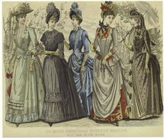 """Пять подруг. """"Модные картинки"""" 1880-х годов из американского дамского журнала  """"Peterson's Magazine"""", май 1889. В лесу."""