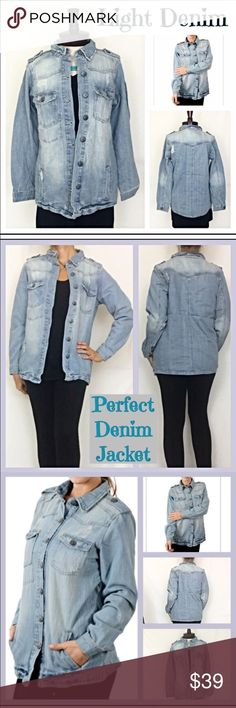 """Light Wash Distressed Denim Jacket M L Here's your perfect jean jacket to round out your wardrobe. Precious light wash Distressed denim with silver hardware. Military style - button front closure - fiive inside pockets - four front pockets. Slightly relaxed fit - soft 100% cotton.  M,L,XL utility  Measurements laying flat: Medium Chest 19"""" Length 26""""  Large Chest 20"""" Length 27""""  XL Chest 21"""" Length 28"""" Jackets & Coats Jean Jackets"""