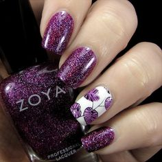 Nail Art By Belegwen: Zoya Aurora, Gina Tricot White and Essie No Shrinking Violet