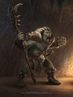 m Orc Shaman Staff underdark wilderness breeding pits Hot Concept Art by Nate Hallinan Orc Warrior, Fantasy Warrior, Fantasy Rpg, Medieval Fantasy, Fantasy Artwork, Mythological Creatures, Fantasy Creatures, Mythical Creatures, Troll