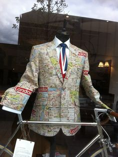 Jacket as map of London; Claud Butler bicycle. The Cut, London SE1