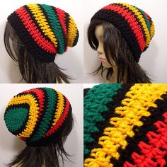 40079853bb2 Slouchy Beanie Crochet Hat in Thick Rasta Stripes Slouchy Hat
