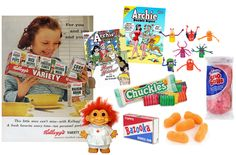 DIY Childhood favorites gift basket idea (retro toys, candies, chuckles, bazooka, sno-balls, troll dolls)