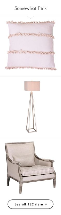 """""""Somewhat Pink"""" by rotunda ❤ liked on Polyvore featuring home, home decor, throw pillows, pillows, rose smoke, rose throw pillow, lighting, floor lamps, silver and geometric lamp"""