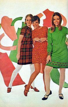 1960s fashion shift dress mini green red orange floral plaid tights flats shoes hair teens print ad vintage fashion style photo models