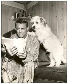 (Celebrities with) Books  I know it's Cary Grant, but whose the dog?