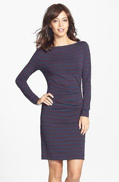 Nicole Miller 'Quinn' Stripe Tucked Jersey Dress available at #Nordstrom