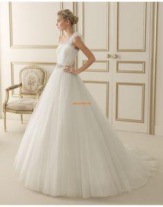 Stile Principessa Tulle Senza Maniche Abiti da Sposa D'epoca