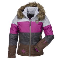 Kilpi, Eufauna Down Ski Jacket, Women, Brown-Grey-Violet  Feminine, fashionable down-filled ski-jacket of Kilpi This down filled jacket keeps you comfortably warm during a day on the slopes. The down is warm, lightweight and easy to pack. Furthermore the Siberium 10.000 2L membrane of this jacket makes it windproof, water repellent and highly breathable.