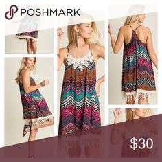 🌺HP 6/23🌺MULTI CHEVRON PRINT SUNDRESS Cute. Cute. Cute. This chevron print sleeveless dress is just that! Crochet fringe hem and bib accent. Drawstring neckline. Great for vacay or a pool party! Rayon blend. tla2 Dresses Mini