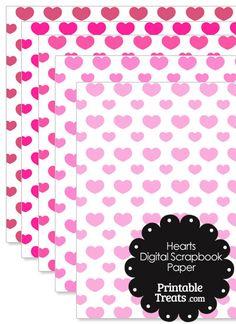 Pink Hearts Digital Scrapbook Paper from PrintableTreats.com