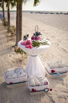 A great way you can present your Heels Off flip flops - flip flops for wedding guests for your beach wedding.
