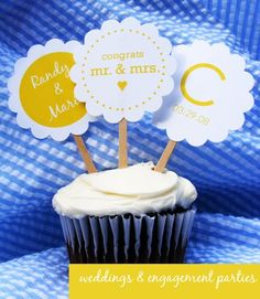 Pretty scallop edge wedding cup cake toppers.