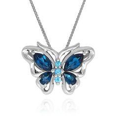 Belk  Co. Blue Blue Topaz Butterfly Pendant In Sterling Silver (720 DKK) ❤ liked on Polyvore featuring jewelry, pendants, necklaces, blue, sterling silver jewellery, sterling silver jewelry, butterfly jewelry, sterling silver pendants and blue pendant