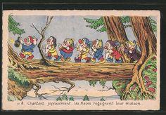 Alte Ansichtskarte: AK Comic, Zwerge laufen über Baumstamm, Schneewittchen