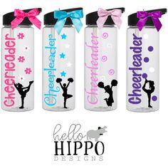 Cheerleader Water Bottle / Personalized Water by HelloHippoDesigns School Cheerleading, Cheerleading Shirts, Gifts For Cheerleaders, Cheerleader Girls, Cheer Coaches, Cheer Mom, Cheer Stuff, Fun Stuff, Cheer Gifts