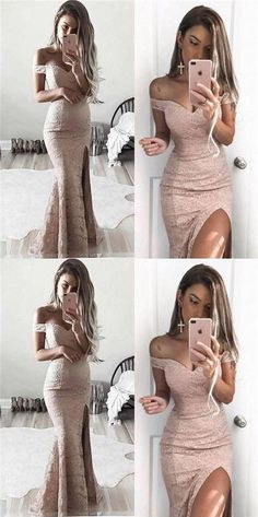 Off Shoulder Lace Mermaid Sexy Side Slit Prom Dresses, Long Prom Dresses, Evening Dresses, PD0326 #Sofiebridal #promdresses #promdress #lace #mermaid #prom2k18 #eveningdresses