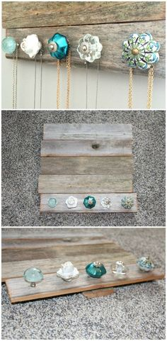 15 Amazing DIY Jewelry Holder Ideas to Try DIY Jewelry holder – perfect for holding and organizing your jewelry and necklaces. Cute antique knobs (from Pier 1 Imports) and barn wood (Hobby Lobby). Jewellery Storage, Jewellery Display, Jewelry Organization, Diy Jewellery, Jewellery Holder, Diy Necklace Holder, Necklace Hanger, Diy Jewelry To Sell, Necklace Storage