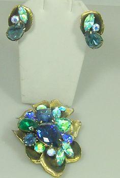 Huge Vintage Brooch and Earring Set