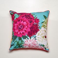 Bella Rosa Cushion Teal 50x50cm Feather Filled- NEW DESIGN - Buy It Now! - LUXOTIC