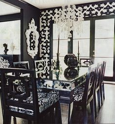 the black and white mixed with my lovely glass dining room table circa 1985, thanks to my parents, will work perfectly together.