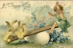 A Very Happy Easter To You With Chicks #Easter #vintage #postcard #ephemera #printables #chicks