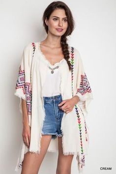 Beautiful tribal print design, this kimono is perfect for casual events, but you can certainly dress this up. Very Boho chic and frayed on edges. Tribal Print Kimono by Umgee USA. Fringe Kimono, Fringe Cardigan, Boho Kimono, Kimono Cardigan, Kimono Top, Tribal Prints, Wholesale Fashion, Hippie Boho, Boho Chic