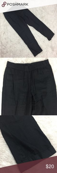 J Jill XS black linen stretch trousers Great tailored linen trousers. Thick elastic waistband, pockets, cuffed hem. Approximate measurements: waist 13.5in, length 38in, inseam 28.5in. Gently used. J. Jill Pants Trousers
