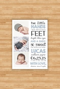Baby Boy Birth Announcement Two Little Hands by PembertonPrints