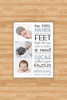 Baby Boy geboorte aankondiging - twee handjes offerte ontwerp - drie foto
