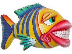 wooden sculptures of schools of fish   Fish Wall Art, Fish Wall Decor, Metal Fish Art   GardenFun.com