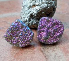 Rainbow+Diamond+Tiny/+Petite+Agate+Titanium+Druzy+by+IsamarML,+$20.60