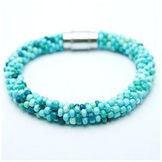 Turquoise Bead Crochet Rope Bracelet by CherryLimeUK on Etsy